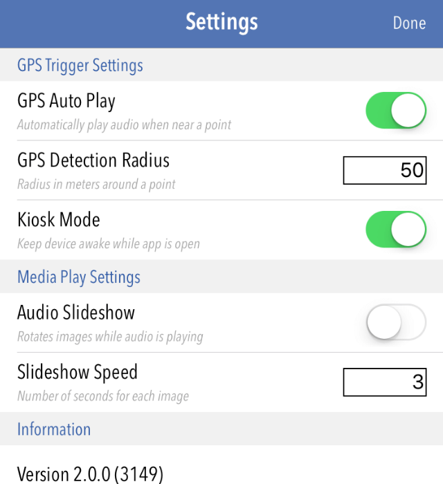 Settings for GPS Triggers in Tour Buddy App