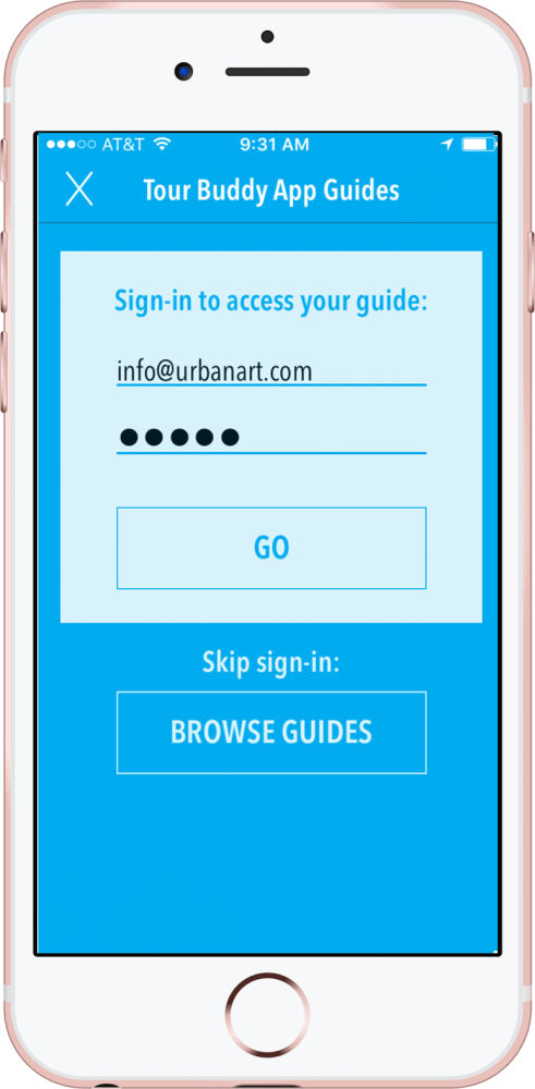 Sign-in screen of the Tour Buddy App